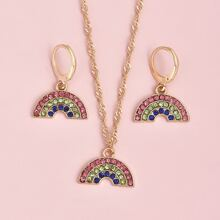 3 Stuecke Jewelry Set mit Regenbogen Dekor