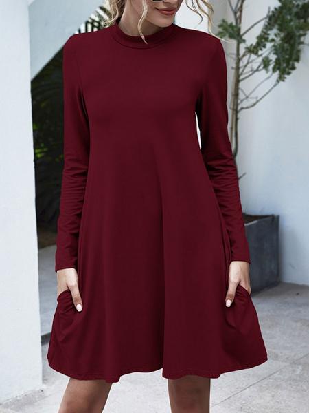 Milanoo Burgundy Shift Dresses Women Jewel Neck Long Sleeves Short Dress With Pockets