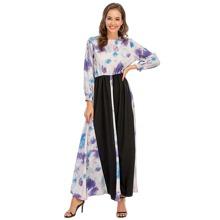 Kleid mit Kontrast Einsatz, Batik, Knopfen und Schluesselloch