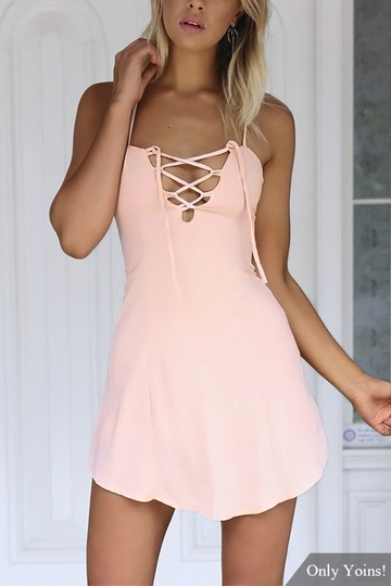 Yoins Criss-Cross Hollow Front & Backless Mini Dress in Pink