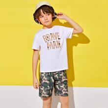 Boys Slogan Graphic Tee & Camo Print Shorts Set