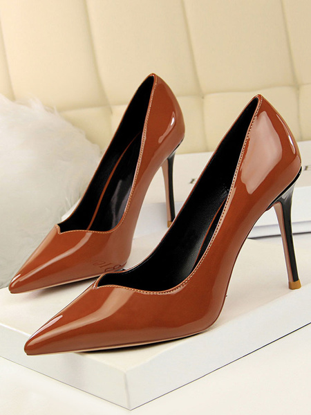 Milanoo Black Dress Shoes Women High Heels Pointed Toe Stiletto Heel Slip On Pumps