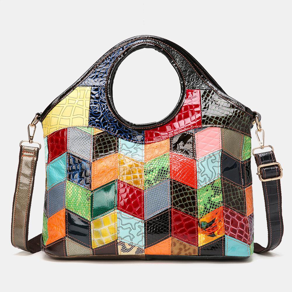 Women Genuine Leather Alligator Argyle Patchwork Multicolor Handbag Shoulder Bag Tote