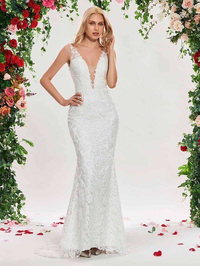 Ericdress Deep V Neck Mermaid Lace Wedding Dress