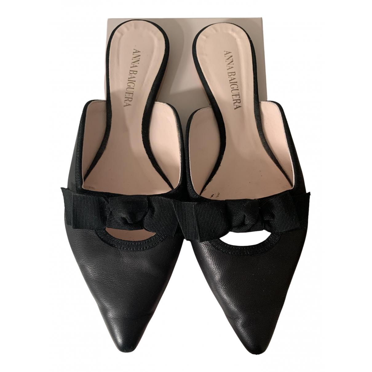 Non Signe / Unsigned \N Ballerinas in  Schwarz Leder