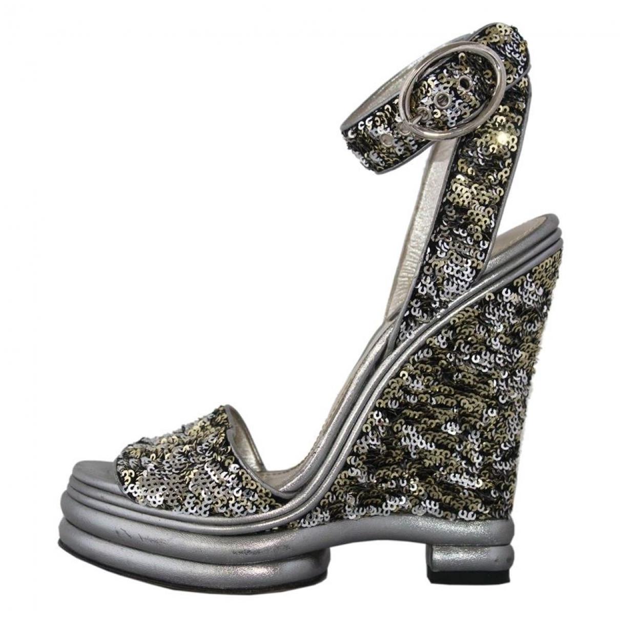 Dolce & Gabbana \N Sandalen in  Silber Mit Pailletten
