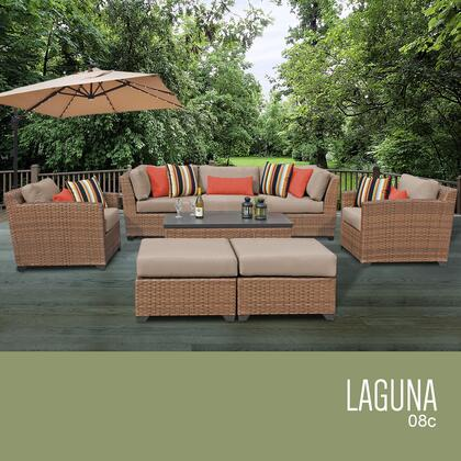 LAGUNA-08c-WHEAT Laguna 8 Piece Outdoor Wicker Patio Furniture Set 08c with 2 Covers: Wheat and