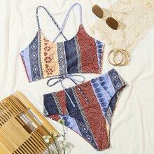 Tribal Lace-up High Waisted Bikini Swimsuit