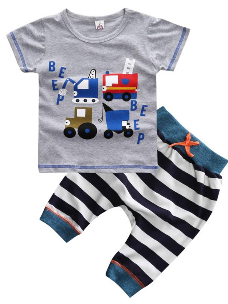 Ericdress Cartoon Stripe Summer 2-Pcs Boys Outfit