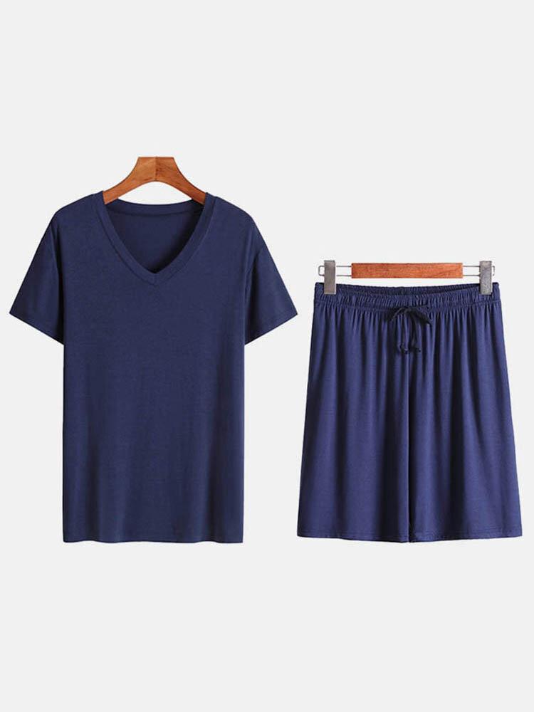 Mens Short Sleeve Sleepwear Suits Plain Thin Comfortable Loungewear Sets Casual Clothing