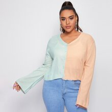 Plus Two Tone Bell Sleeve Cardigan