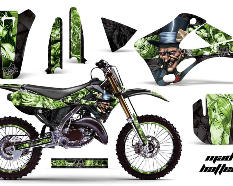 AMR Racing Graphics MX-NP-KAW-KX125-KX250-99-02-HAT G K Kit Decal Wrap + # Plates For Kawasaki KX125 | KX250 1999-2002áHATTER GREEN BLACK