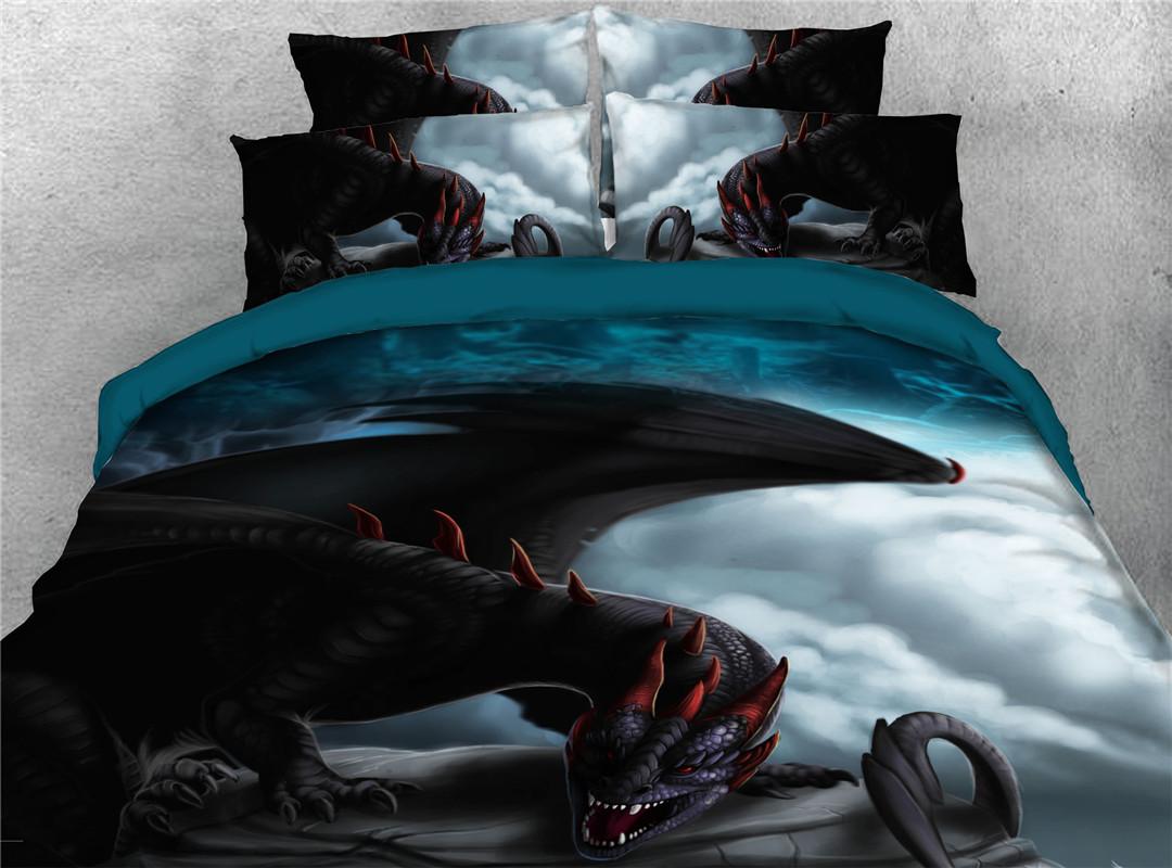 Dragon Duvet Cover Set Modern Machine Wash Four-Piece Set Polyester Bedding Sets Endurable 2 PillowcasesSet