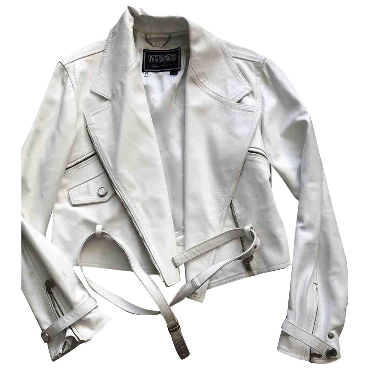 Versus - Veste   pour femme en cuir - blanc