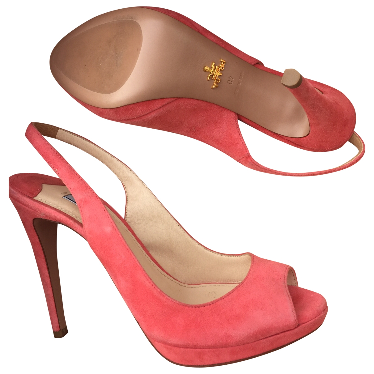 Prada \N Pink Suede Heels for Women 40 EU
