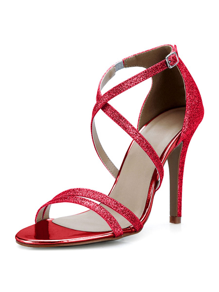 Milanoo High Heel Sandals Womens Silver Sequined Open Toe Stiletto Heels Sandals