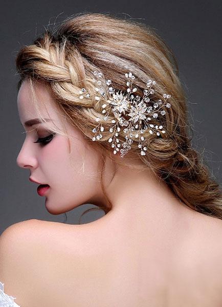 Milanoo Diadema de perlas de novia casco boda pelo Pin (12 Cm X 10 Cm)
