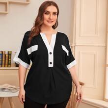 Bluse mit Kontrast Einsatz, eingekerbtem Kragen und halber Knopfleiste