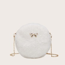 Metal Bow Decor Fluffy Circle Bag