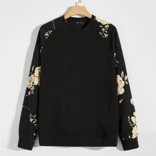 Men Floral Raglan Sleeve Pullover