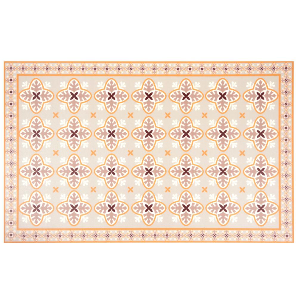 Vinyl-Teppich mit Zementfliesen-Motiven, orange 50x80
