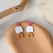 Color Block Geo Drop Earrings