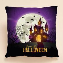 Halloween Kissenbezug mit Schloss Muster ohne Fuellstoff