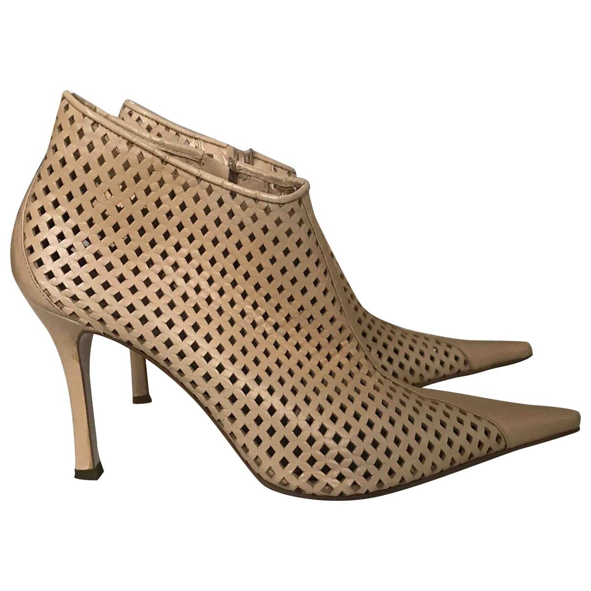 Zara - Boots   pour femme en cuir - beige