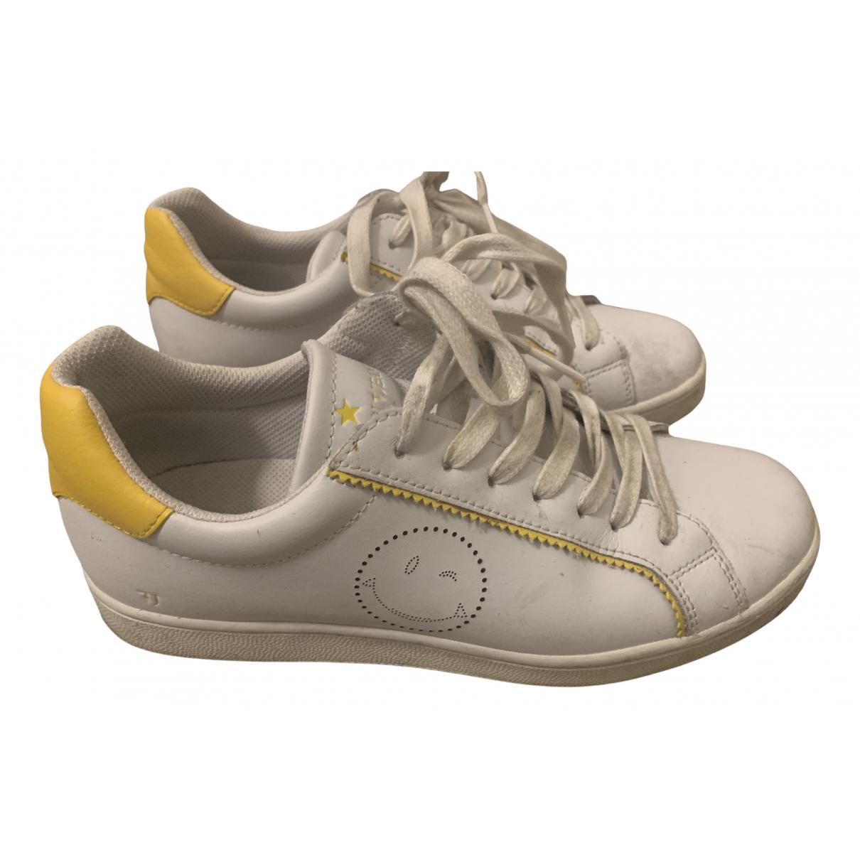Trussardi Jean - Baskets   pour homme en cuir - blanc