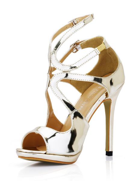 Milanoo High Heel Sandals Black Open Toe Buckle Strappy Stiletto Heel Sandals for Women