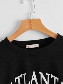 Letter Drawstring Crop Sweatshirt