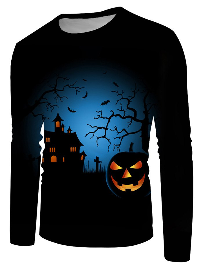 Halloween Night Pumpkin Graphic Crew Neck Casual T Shirt