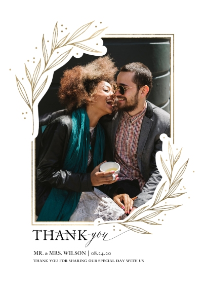 Wedding Thank You 5x7 Cards, Standard Cardstock 85lb, Card & Stationery -Wedding Thank You Gold Leaf Border by Tumbalina