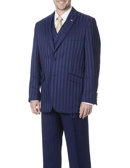 Mens Striped 2Buttons Style Classic Fit Vested Suits Navy Pants