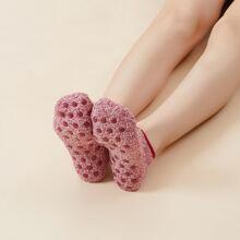 Solid Coral Fleece Floor Socks