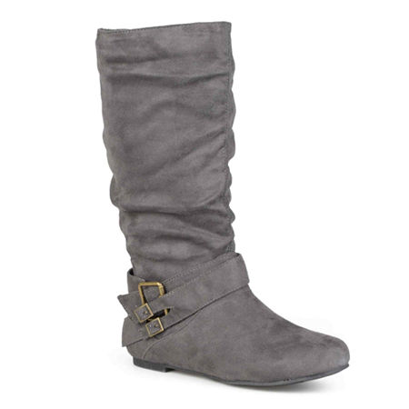 Journee Collection Womens Shelley Slouch Boots, 6 1/2 Medium, Gray