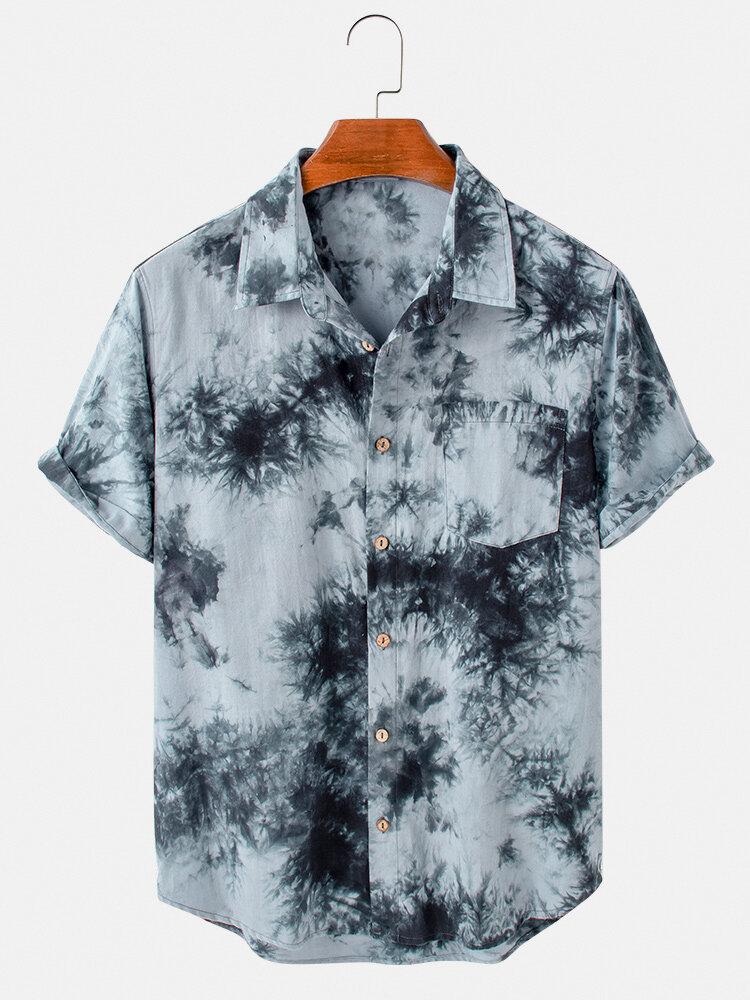 Mens Cotton Tie-Dye Print Breathable Light Short Sleeve Shirts