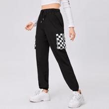 Checkerboard Pocket Drawstring Pants