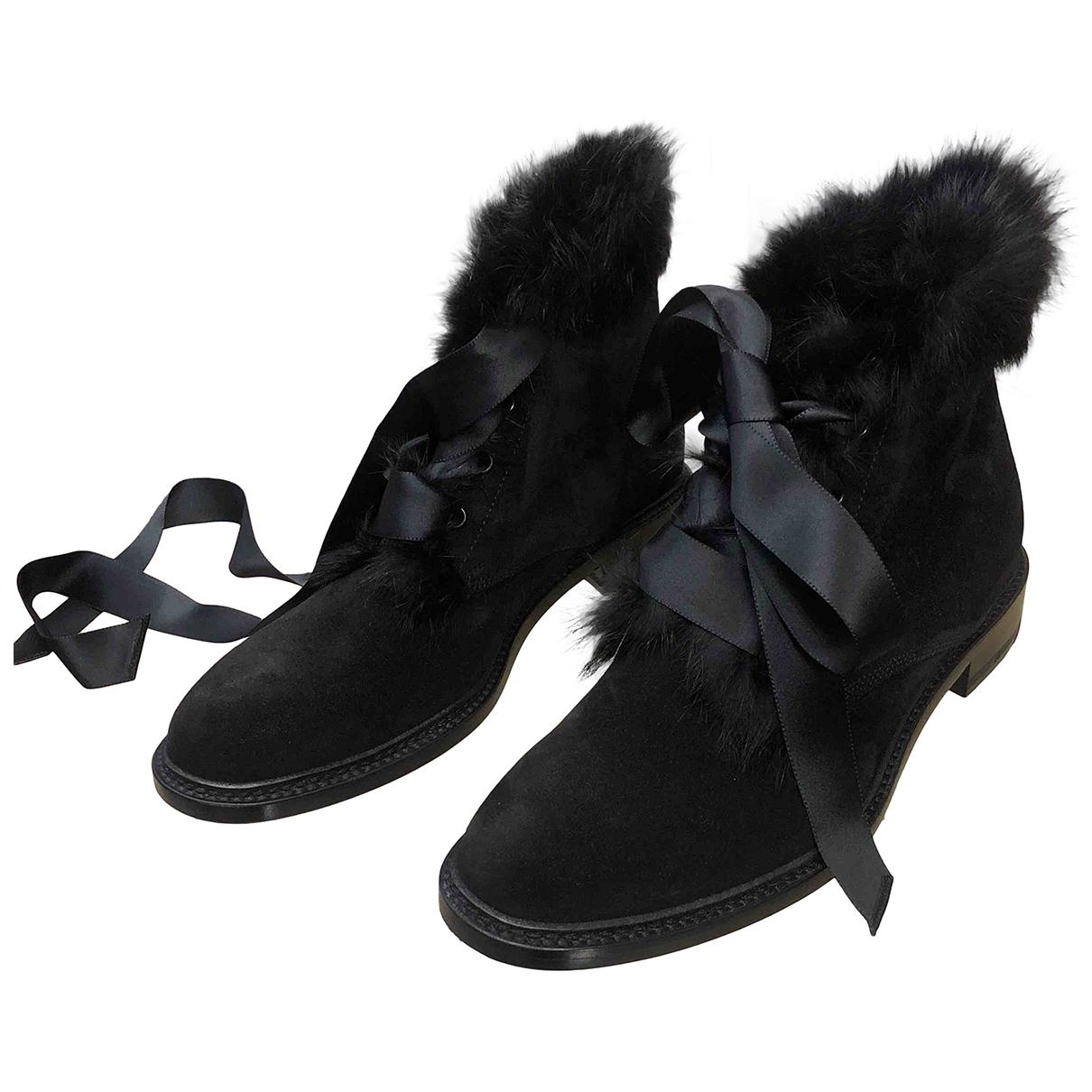 Saint Laurent N Black Suede Ankle boots for Women 39.5 EU