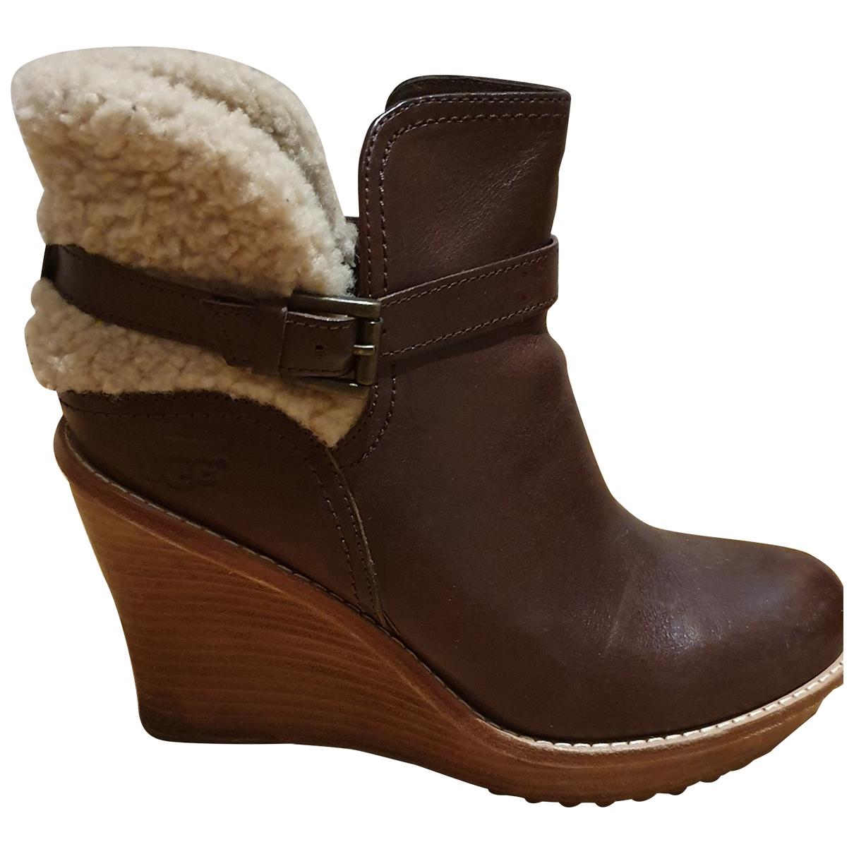 Ugg - Boots   pour femme en cuir - marron