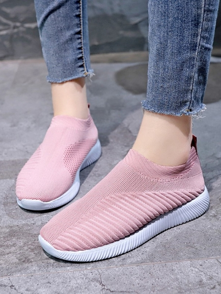 Yoins Flying Woven Socks Sheer Slip-on Loafers
