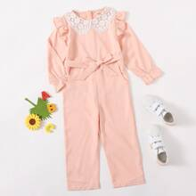 Toddler Girls Lace Doll Collar Belted Jumpsuit