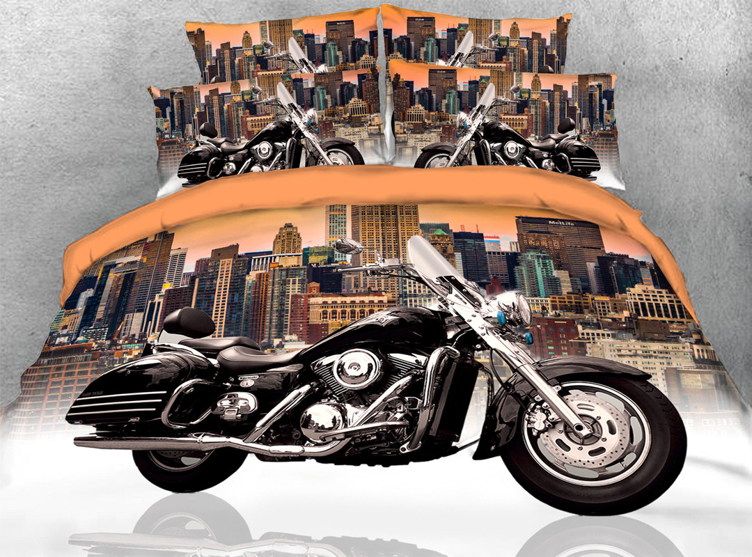 3D Black Motorcycle Zipper 4pcs Bedding Sets No-fading Soft Reactive Printing Duvet Cover with Ties