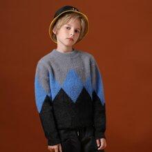 Pullover mit Farbblock und Argyle Muster