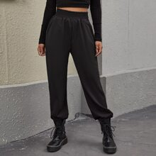 Elastic Wide Waistband Slant Pocket Pants