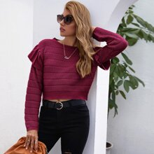 Ruffle Trim Drop Shoulder Crop Sweater