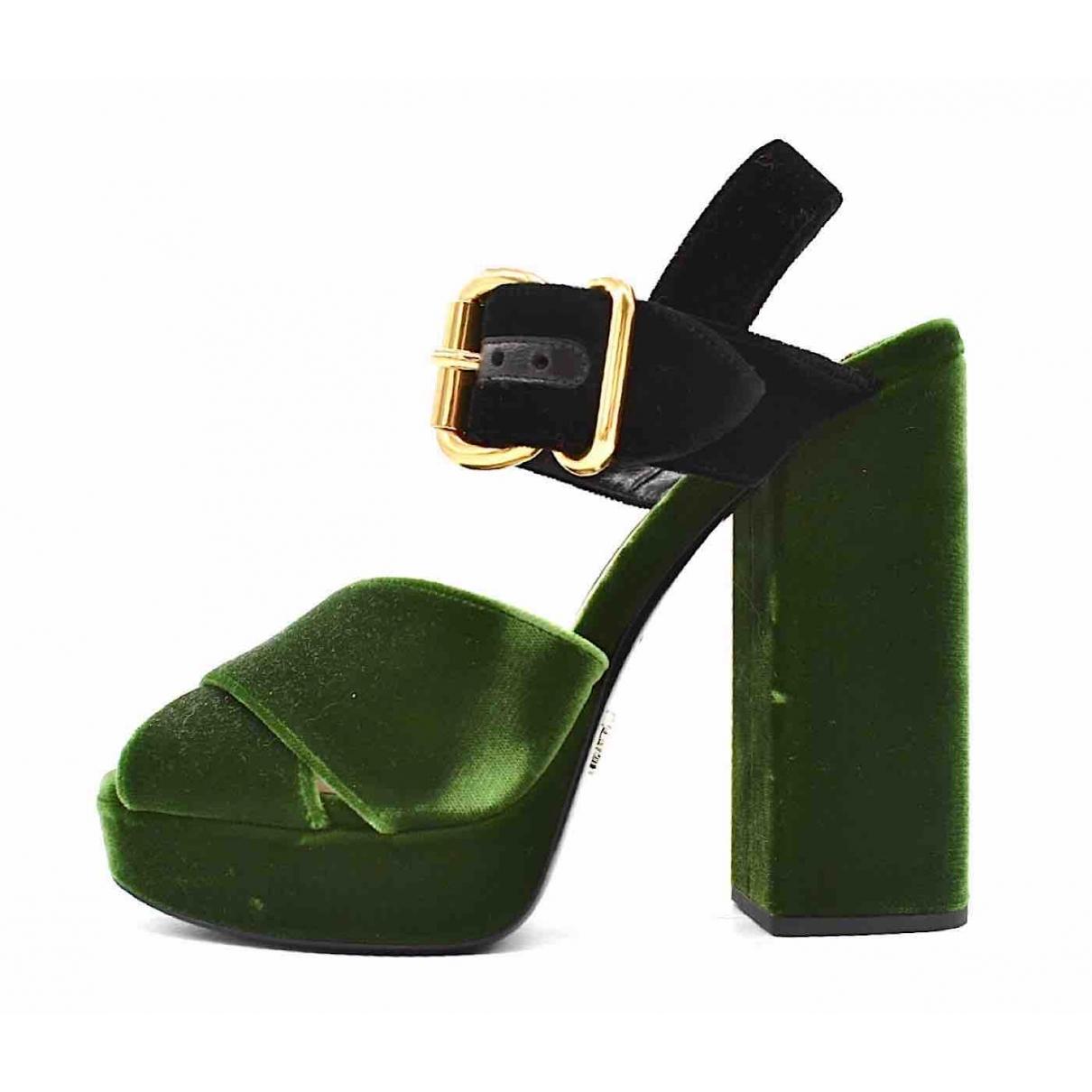 Prada \N Green Velvet Sandals for Women 40 EU