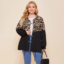 Mantel mit Leopard Muster und Kordelzug