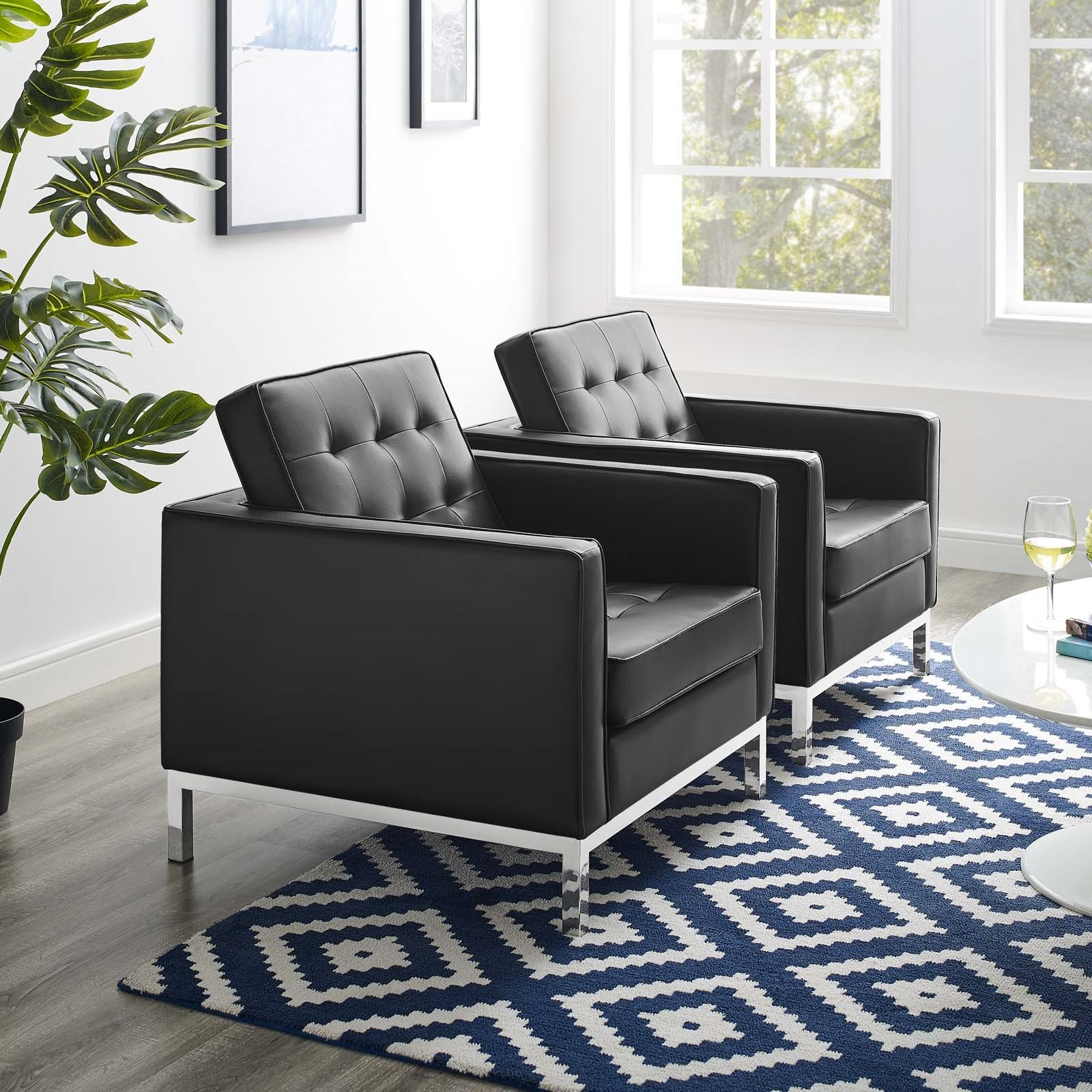 Loft Tufted Upholstered Faux Leather Armchair Set of 2 in Silver Black
