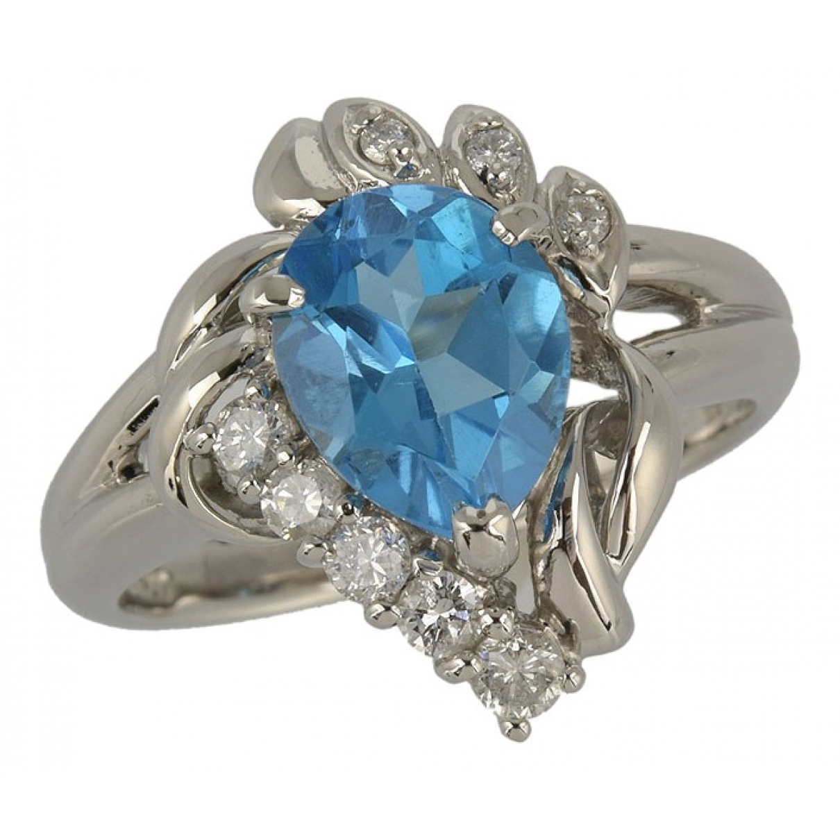 Non Signé / Unsigned \N Blue Platinum ring for Women 53 EU